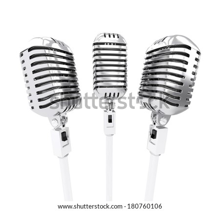 Retro microphones. isolated on white. 3d illustration - stock photo