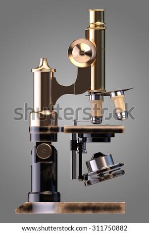 Retro microscope - stock photo