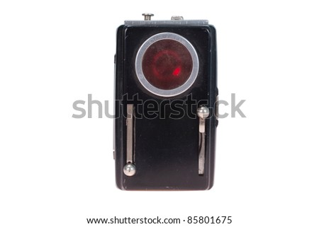 retro military old flashlight witht red glass isolated on white