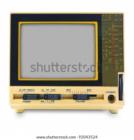 Retro mini television isolated on white background - stock photo