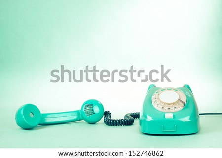Retro mint green telephone photo for background - stock photo