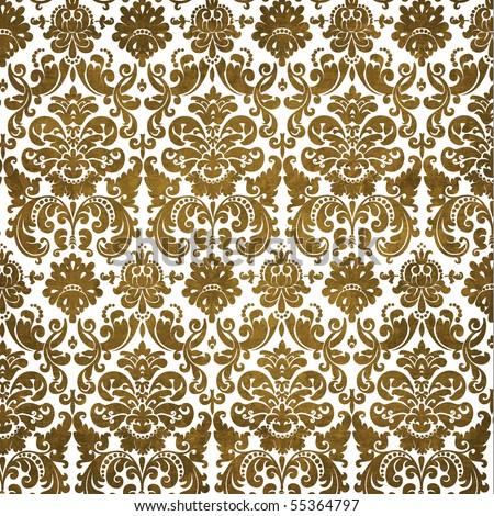 Retro Modern Damask Pattern Texture Background - stock photo