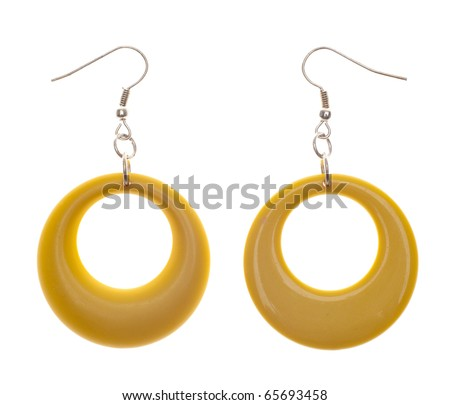 Retro Modern Yellow Plastic Earrings.  Isolated on White with a Clipping Path.