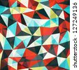 retro mosaic triangle seamless pattern (raster version) - stock photo