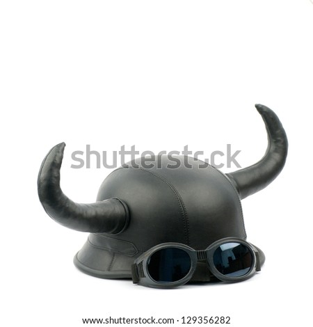 Retro motorcycle helmet with bull long horns - stock photo