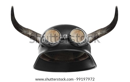 Retro motorcycle helmet with bull long horns. - stock photo