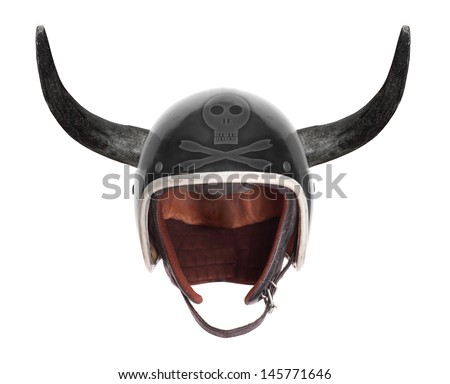 Retro motorcycle helmet with bull long horns and skull with crossbones. - stock photo