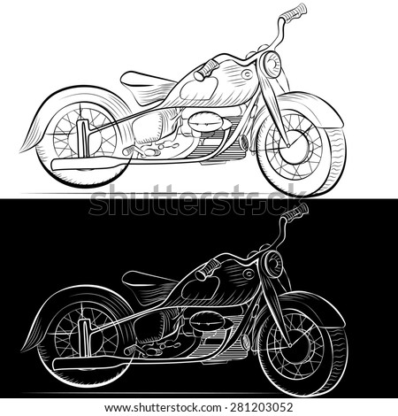 Retro motorcycle painted in black and white graphics in two versions - stock photo