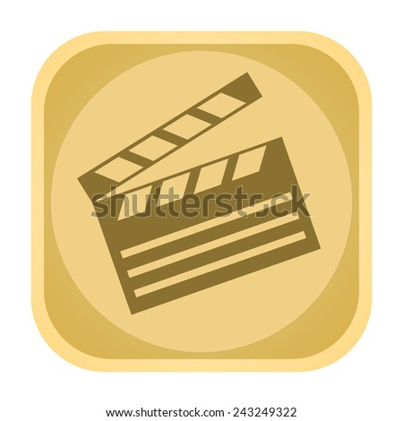 Retro movie clapperboard icon - stock photo