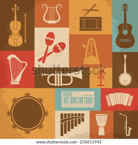 Retro Musical Instruments Icons. Raster version - stock photo