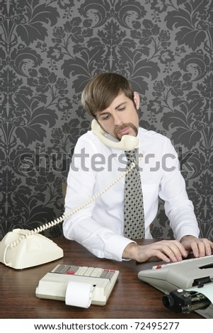 retro mustache multitask businessman office desk on vintage wallpaper - stock photo