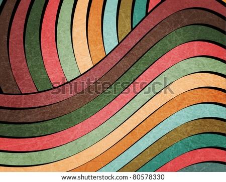 retro muted earth tones wavy design, background  (raster version) - stock photo