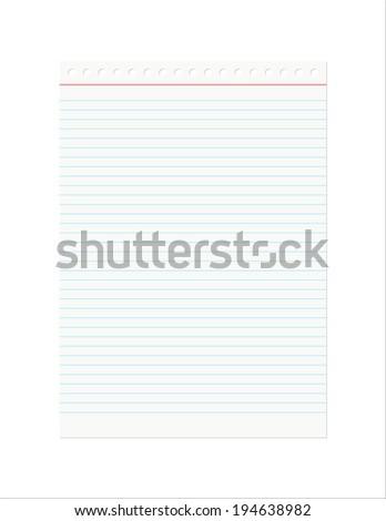 Retro Notebook Sheet isolated on a white background. - stock photo