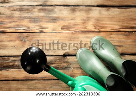 retro old floor of brown color and green shoes  - stock photo