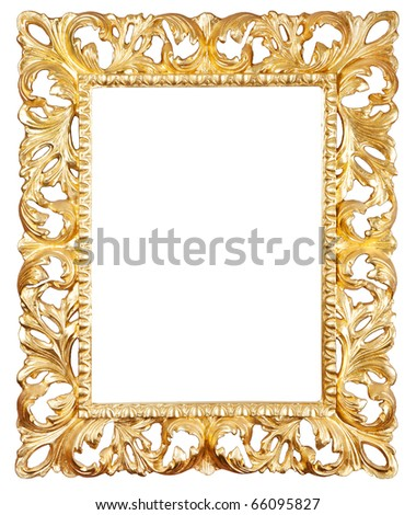 Retro old gold frame, isolated - stock photo