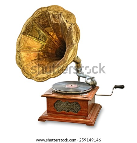 retro old gramophone isolated on white - stock photo