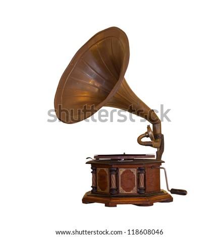 retro old gramophone isolated on white background - stock photo