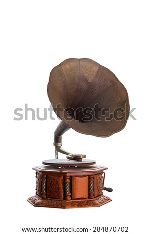Retro old gramophone with horn isolated on white background.