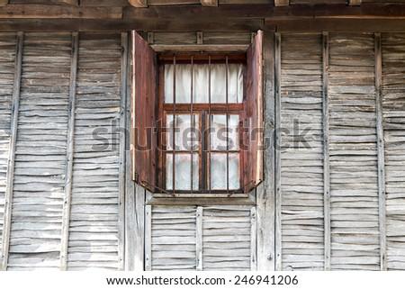 retro old wooden wall window - stock photo