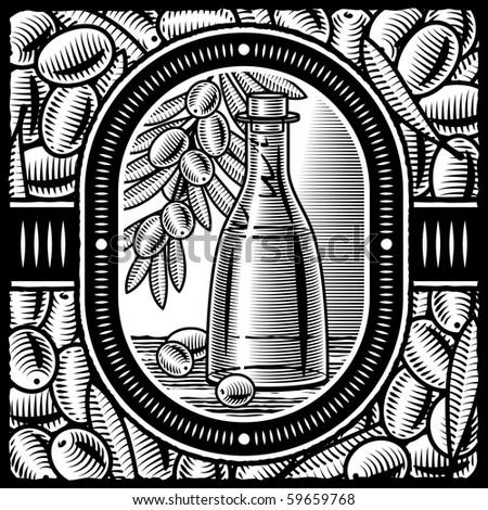 Retro olive oil black and white - stock photo