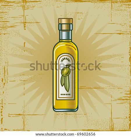 Retro Olive Oil Bottle - stock photo