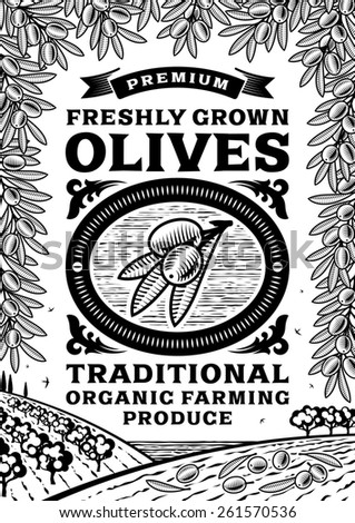 Retro olives poster black and white - stock photo
