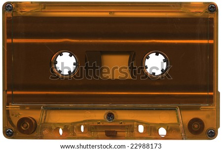 Retro orange plastic cassette tape. - stock photo