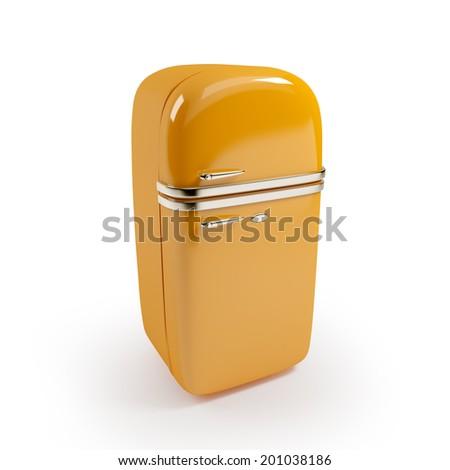Retro orange refrigerator isolated on white background - stock photo