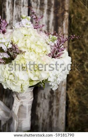 retro organic wedding bouquet - rustic - stock photo