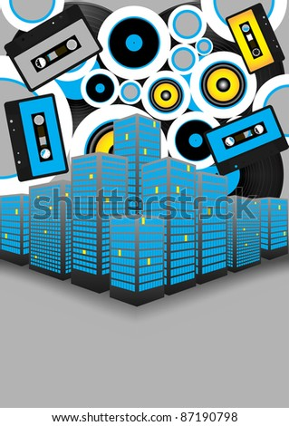 Retro Party Background - Audio Tapes, Vinyl Records and Skyscrapers on Grey Background - stock photo