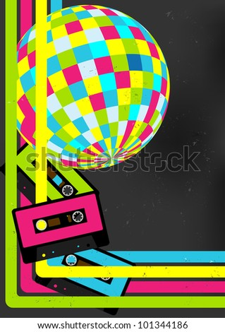 Retro Party Background - Retro Audio Cassette Tapes, Disco Ball and 80s Party Sign - stock photo