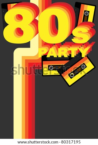Retro Party Background - 80s Sign and Audio Tape on Dark Grey Background - stock photo