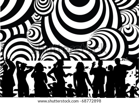 Retro party on black and white circle illustration