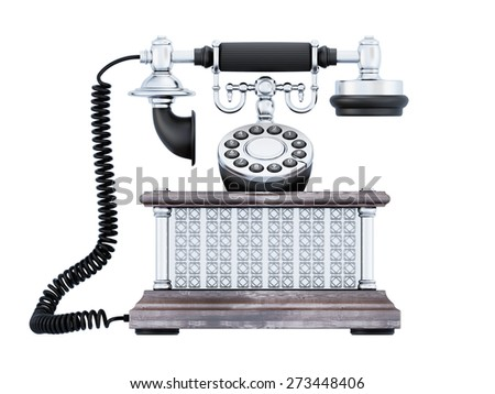 Retro phone front view. Vintage telephone isolated on white background. 3d illustration. - stock photo