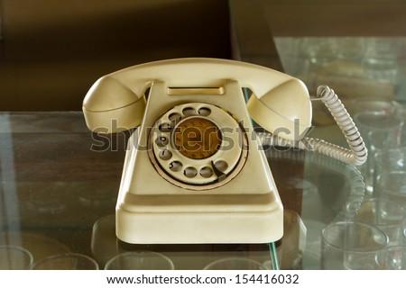 Retro Phone On The Glass - stock photo