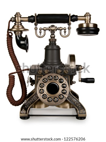 Retro Phone - Vintage Telephone isolated on White Background - stock photo