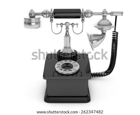 Retro Phone. Vintage Telephone on a white background - stock photo