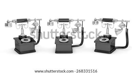 Retro Phone. Vintage Telephones on a white background - stock photo