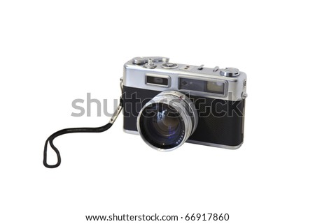 Retro photo camera isolated on white background. Rangefinder film camera with nice details, silver parts and a nice old vintage design. Use it on websites or other design projects you work. - stock photo