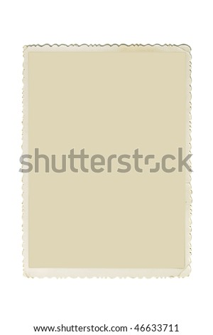 Retro photo frame with scalloped borders and copy space inside isolated on white background - stock photo