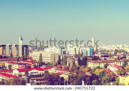 Retro Photo Of Bucharest City Aerial View - stock photo