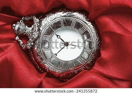 Retro Photo Of Vintage Pocket Watch Closeup - stock photo