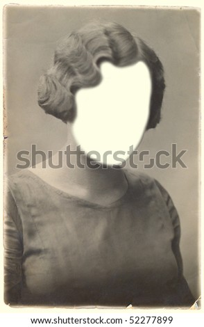 Retro photo of woman.Face cloned out. You can use the frame or add your own face. - stock photo