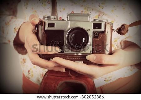 Retro photo, Retro photography, Lens camera, Old school or Old lens, Photography - stock photo