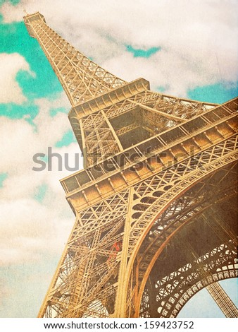 retro photo with paris, france - stock photo