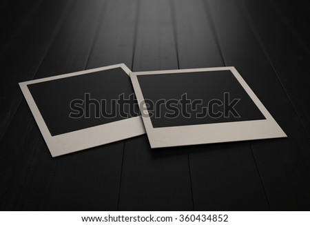 Retro photos on grunge background. Photos on black boards. 3d rendering. - stock photo