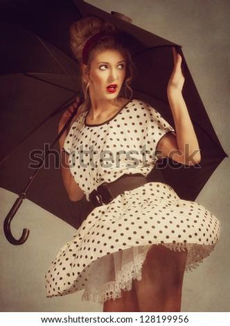 Retro. Pin up female portrait for your design - stock photo