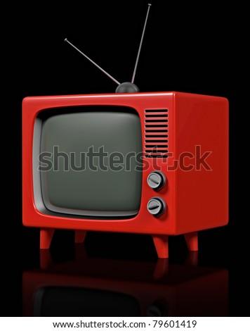 Retro plastic television - stock photo