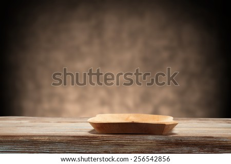 retro plate of wood and desk of table