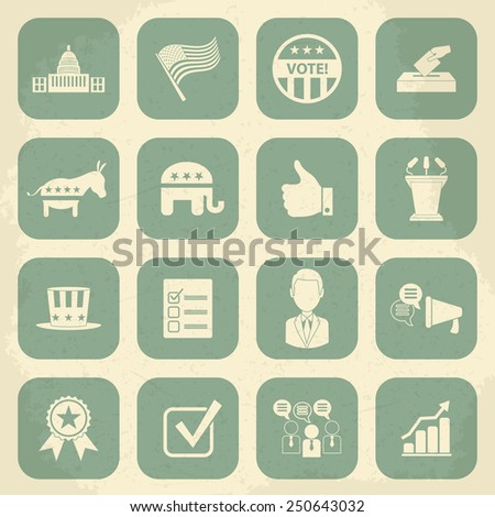 Retro political election campaign icons set. Raster version - stock photo